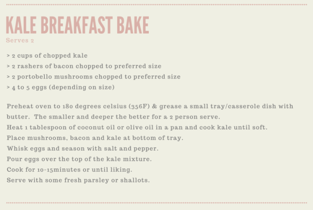 recipe blog card - kale breakfast bake