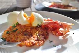 Sweet potato rosti, slow cooked eggs