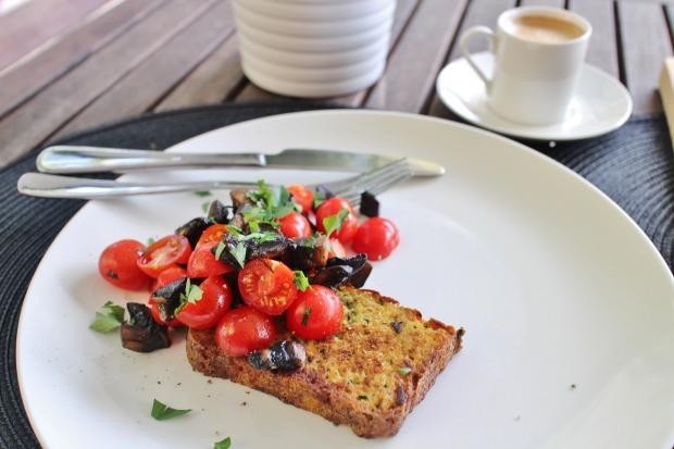 zucchini bread with mushroom tomato
